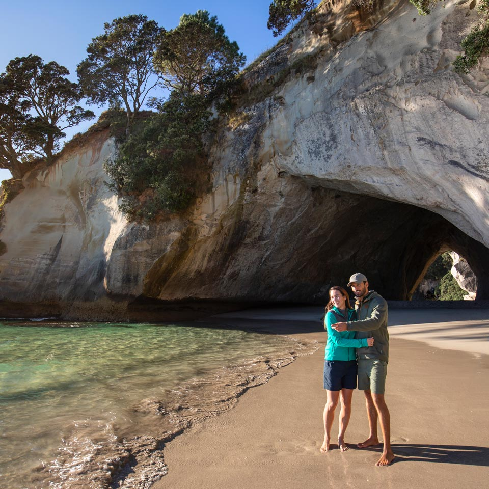 Photo credit (Graeme Murray). Location displayed (Cathedral Cove, Coromandel).