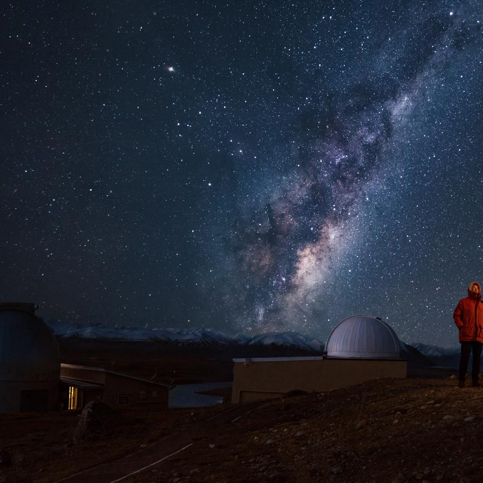 Photo credit (Julian Apse). Location displayed (Mt. John Observatory, Tekapo, Canterbury).