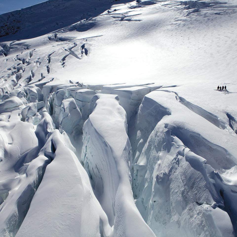 Photo credit (Southern Lakes Helicopters). Location displayed (Clarke Glacier, Canterbury).