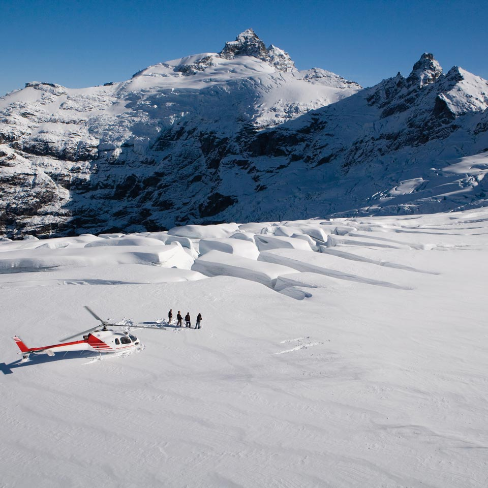 Photo credit (Southern Lakes Helicopters). Location displayed (Clark Glacier, Queenstown).