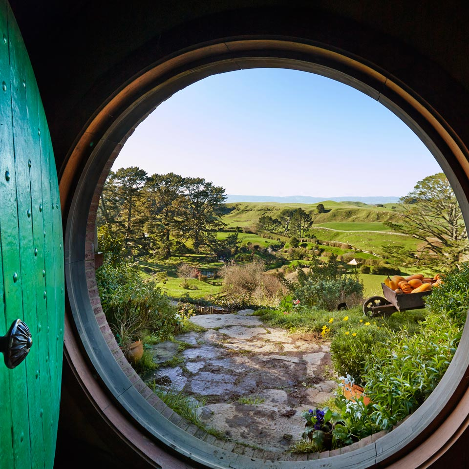Photo credit (Sara Ormen). Location displayed (Hobbiton, Matamata, Waikato).