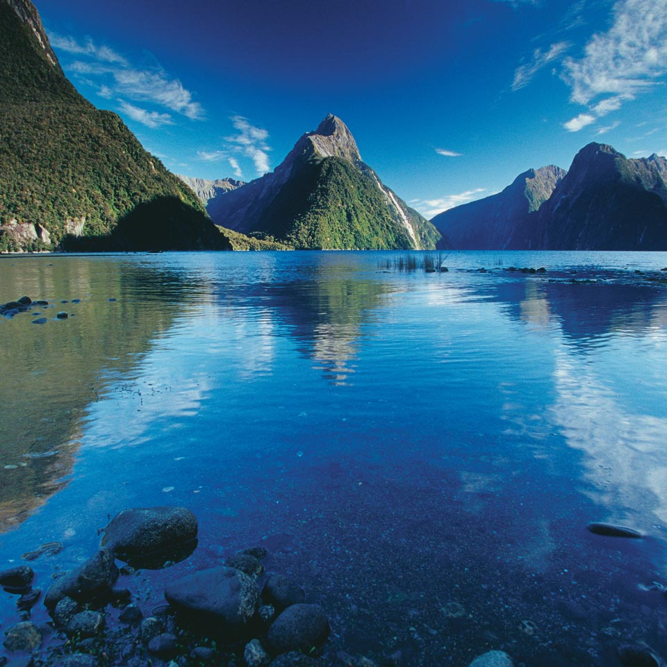 Photo credit (Rob Suisted). Location displayed (Milford Sound, Fiordland).