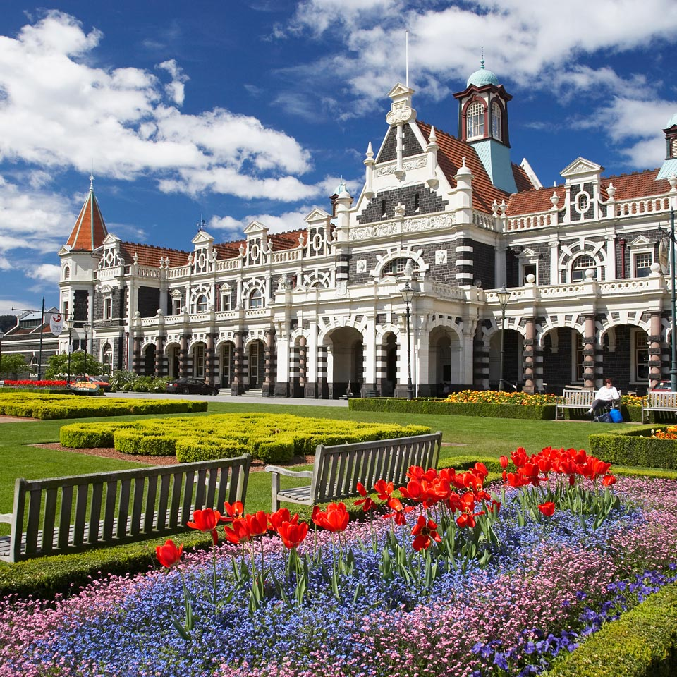 Photo credit (David Wall). Location displayed (Dunedin Railway Station).