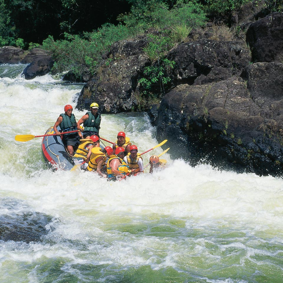 Photo credit (Tourism and Events Queensland). Location displayed (Tully River, Queensland).