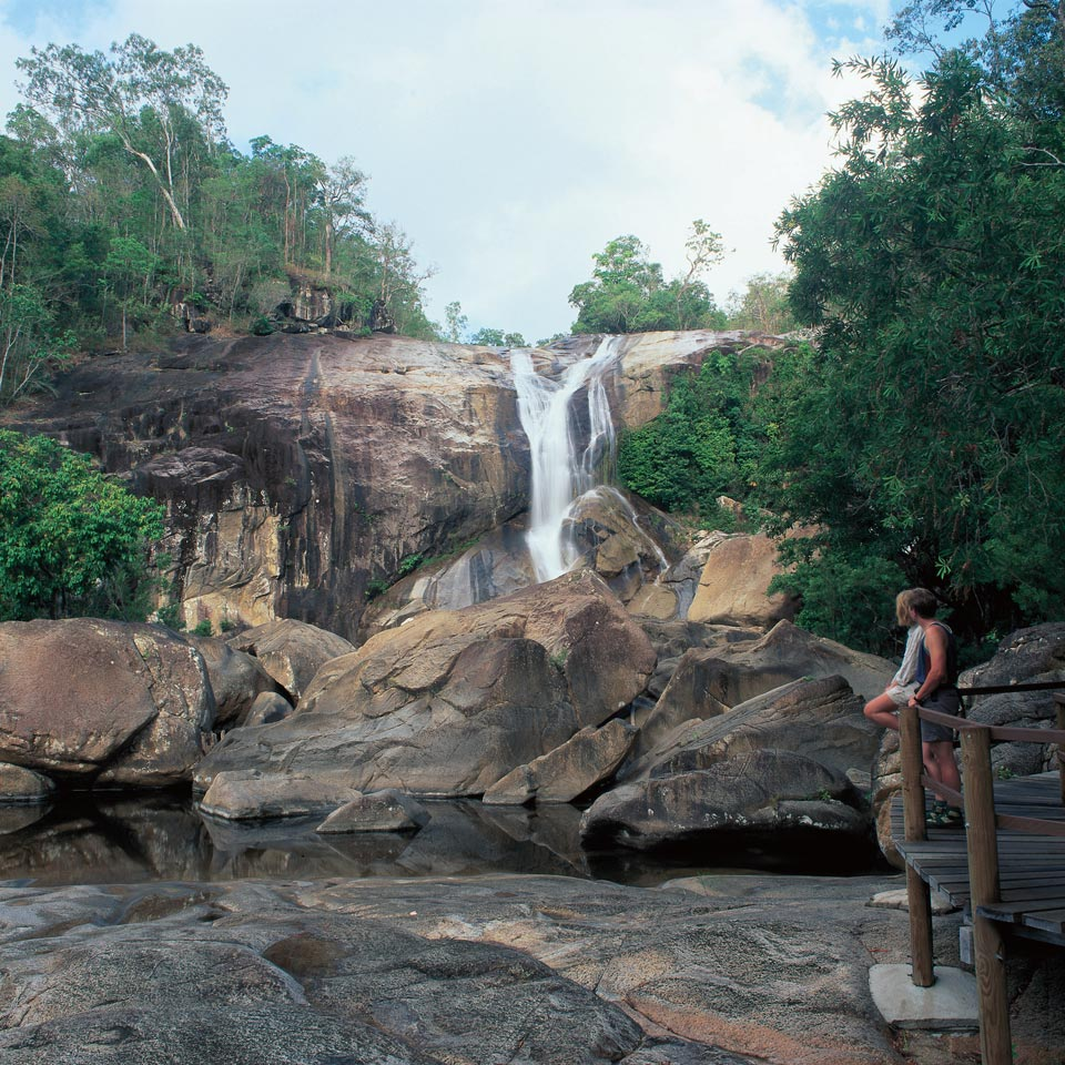 Photo credit (Tourism and Events Queensland). Location displayed (Murray Falls National Park, Queensland).