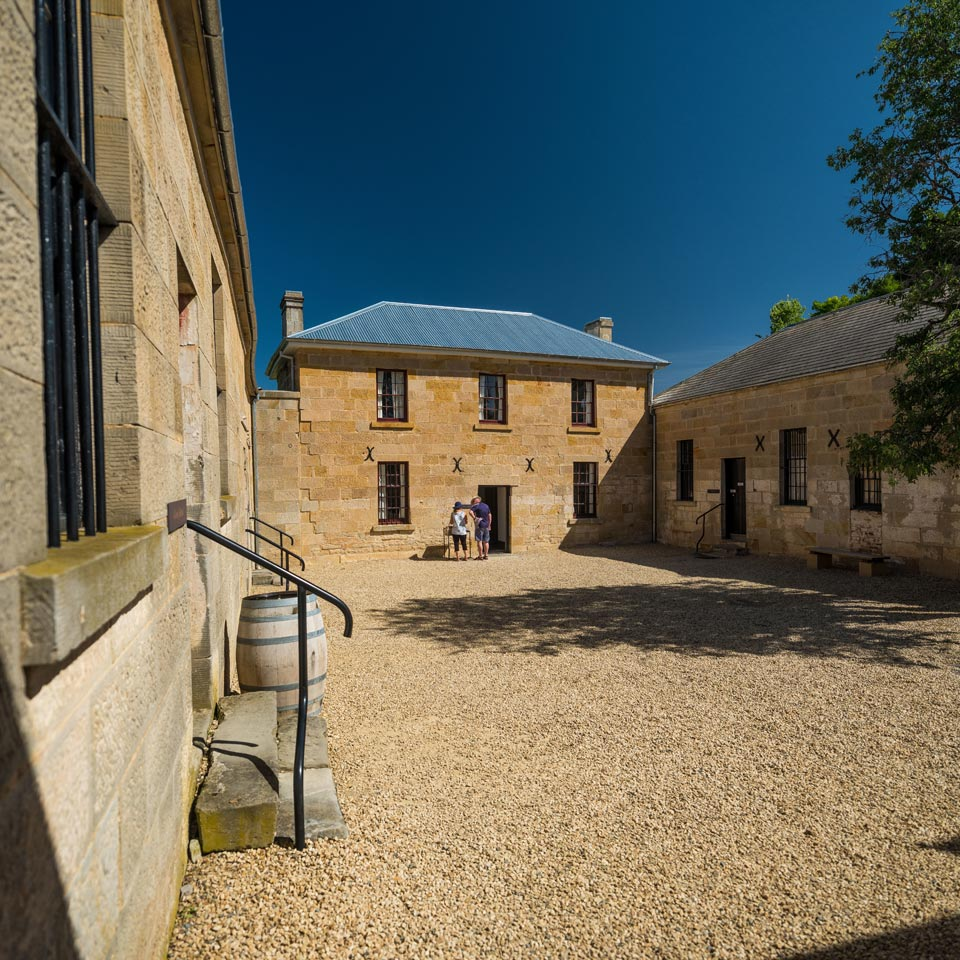 Photo credit (Tourism Tasmania). Location displayed (Richmond Gaol, Tasmania).