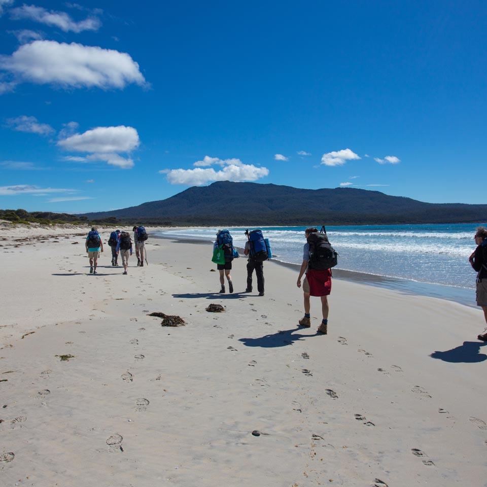 Photo credit (Tourism Australia). Location displayed (The Maria Island Walk).