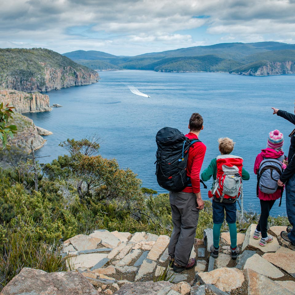 Photo credit (Tasmania Parks and Wildlife Service). Location displayed (Three Capes Track - Cape Hauy).