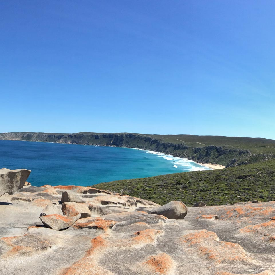 Location displayed (Remarkable Rocks, Kangaroo Island).